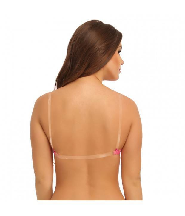 Hannahdoss Pink Cotton Padded Wirefree Bra With Detachable Straps & Transparent Back Band - Pink-CB11