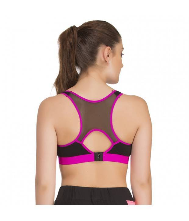 Hannahdoss Padded Sports Bra In Black With Pink Trims & Broad Elastic-CB13