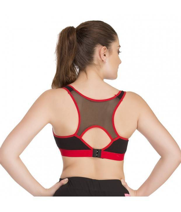 Hannahdoss Padded Sports Bra In Black With Red Trims & Broad Elastic-CB16