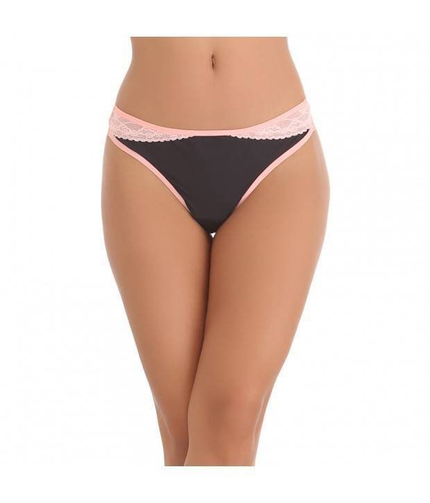 Hannahdoss THONG IN BLACK WITH CONTRAST LACY WAISTBAND-CP62