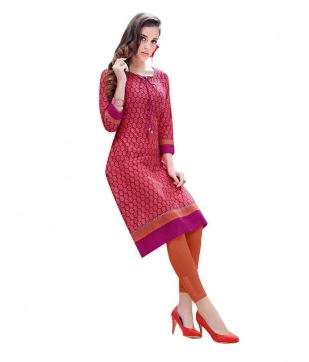 Maria Orange Colour Cotton Long Printed Kurtis -Maria11