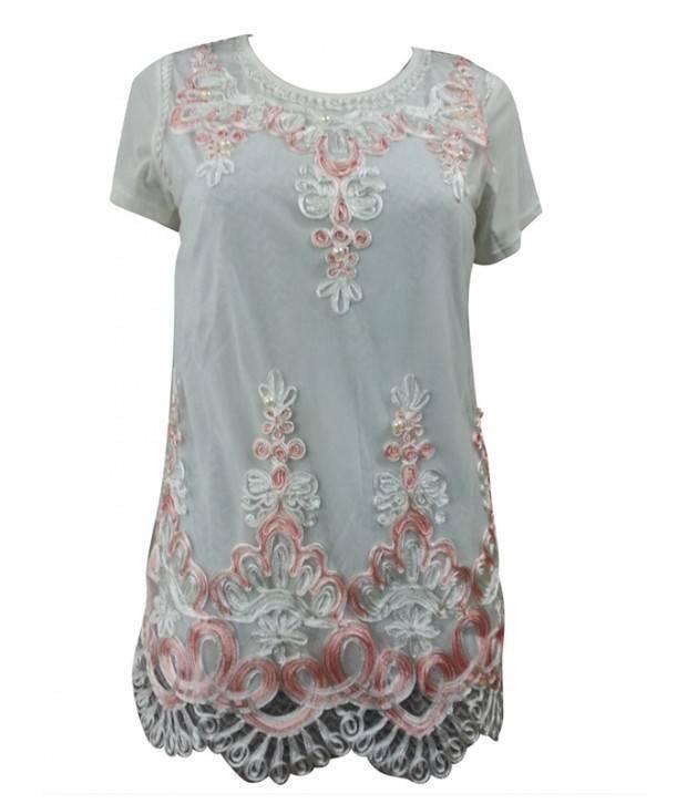 Vanilla Cloud White Casual  Net Fabric  Top-T38